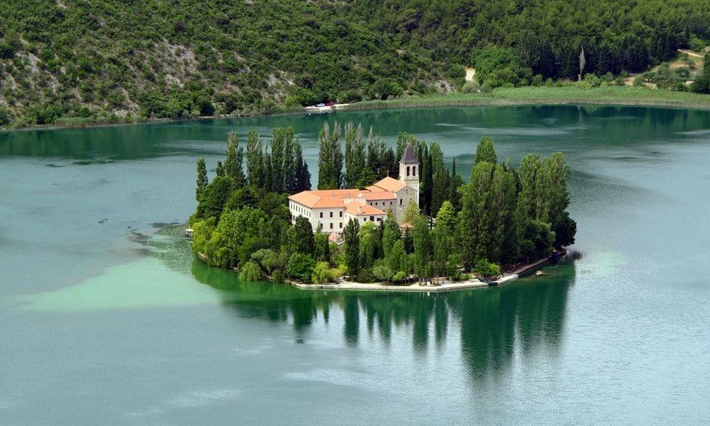 Idyllic Escape to Monastery Island Visovac in the National Park Krka